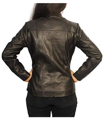 Womens Lambskin Leather Short Peacoat Jacket 03