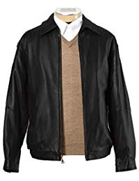 Mens Classic Black Leather Biker Jacket 01