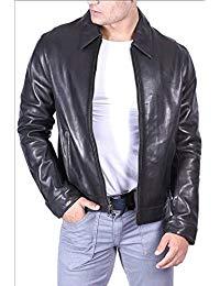 Mens Classic Black Leather Biker Jacket 02