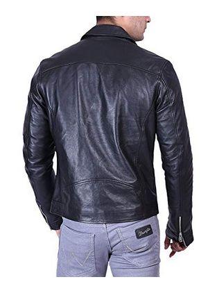 Mens Classic Black Leather Biker Jacket 03
