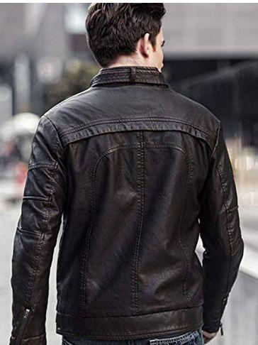 Mens Lambskin Black Leather Biker Jacket 04
