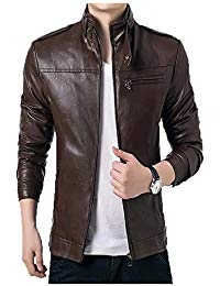 Mens Lambskin Brown Leather Biker Jacket 03
