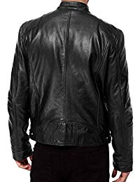 Mens Sword Black Lambskin Leather Biker Jacket 04