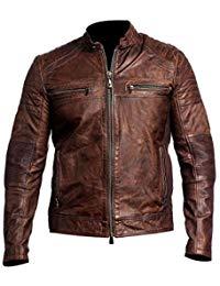 Mens Vintage Distressed Brown Leather Jacket 03