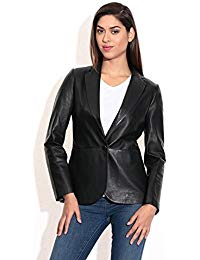Womens Lamskin Leather Blazer Jacket