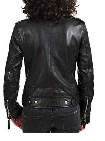 Womens Lambskin Black Leather Biker Jacket 04