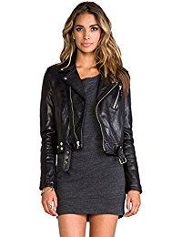 Womens Lambskin Black Leather Biker Jacket 09
