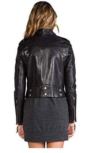 Womens Lambskin Black Leather Biker Jacket 10