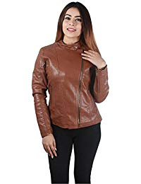 Womens Lambskin Brown Leather Biker Jacket 05