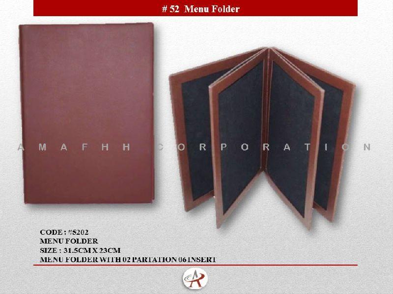 Brown Leatherette Menu Folder