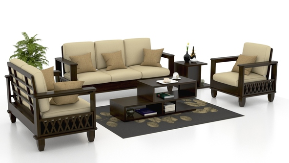 Sheesham Wood Sofa Set 01