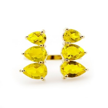 Citrine Quartz Gold Plated Prong Rings