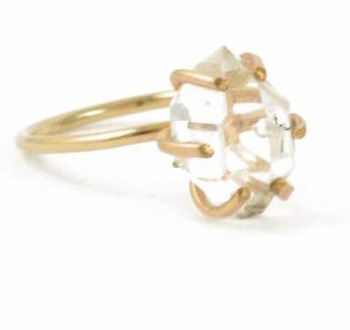 Crystal Rough Cut Stone Prong Set Ring