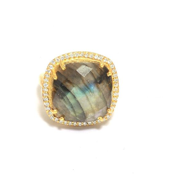 Gold Plated Labradorite Pave Ring
