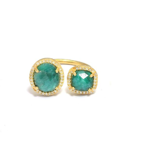 Green Emerald Gold Plated Pave CZ Set Ring