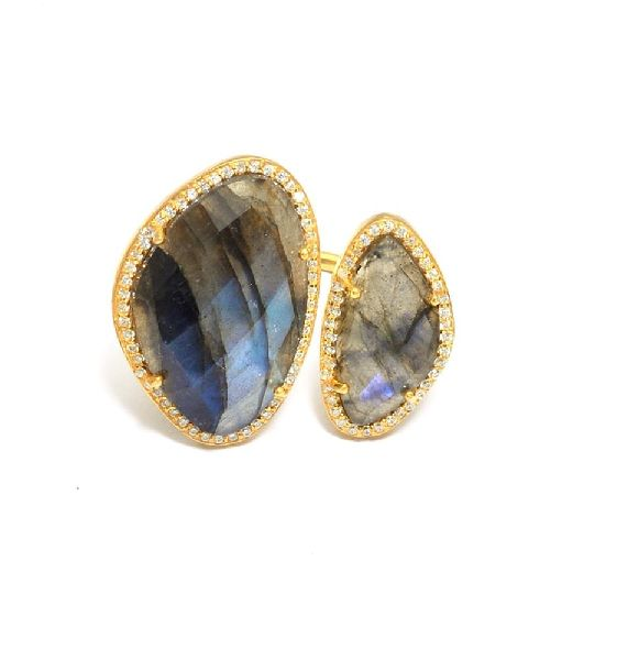 Labradorite Pave Stone Gold Plated Ring