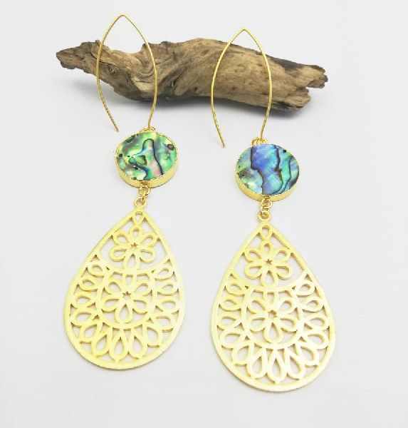 Long Drop Round Abalone Shell Earrings
