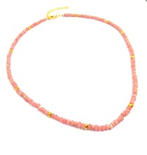 Pink Opal and Gold Pyrite Bead Necklace