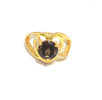 Smoky Quartz Pave Gold Plated Ring