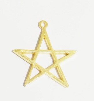 Star Shape Brushed Gold Plated