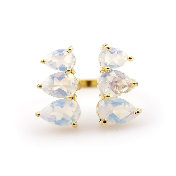 Trendy Opalite Gold Plated Prong Rings
