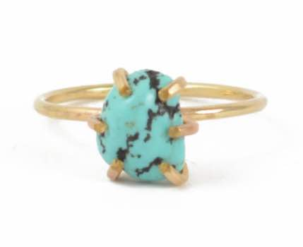 Turquoise Rough Cut Stone Prong Set Ring
