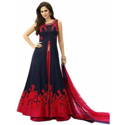 Embroidered Semi Stitiched Gown