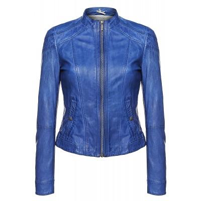 Ladies Royal Blue Leather Jacket
