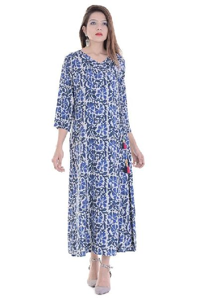 e405eb07b Blue Printed Long Kurti - Manufacturer Exporter Supplier in Surat India