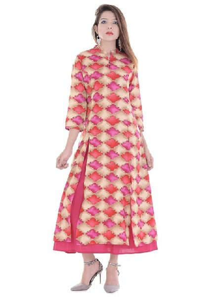 04fcfbac9 Pink Printed Double Layer Kurti - Manufacturer Exporter Supplier in ...