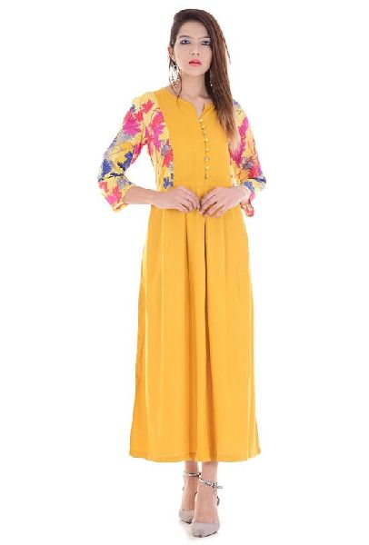 3e78a610a Yellow Printed Maxi Dress - Manufacturer Exporter Supplier in Surat ...
