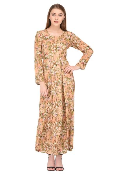725766e17 Beige Floral Printed Maxi Dress - Manufacturer Exporter Supplier in ...