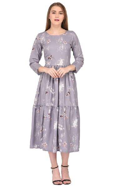 bf2e518fe Grey Floral Print Fancy Dress Manufacturer Supplier in Surat India