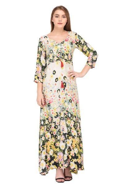b407020e9 Offwhite Floral Printed Maxi Dress - Manufacturer Exporter Supplier ...