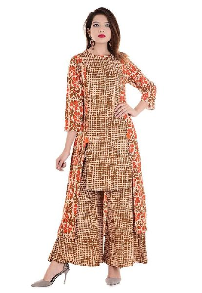 b271de42f Orange Printed Palazzo Kurti Manufacturer Supplier in Surat India