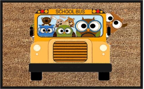 PVC Backed School Bus Print Coir Mats