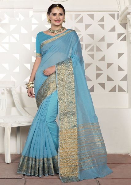 Chanderi Attached Border Sarees