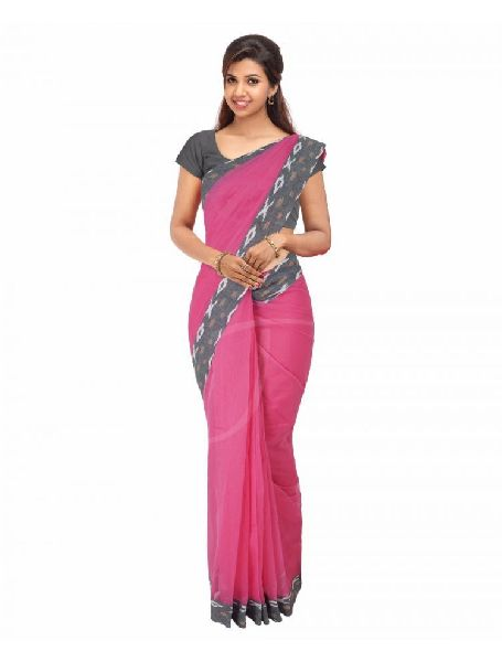 Cotton Attached Border Sarees