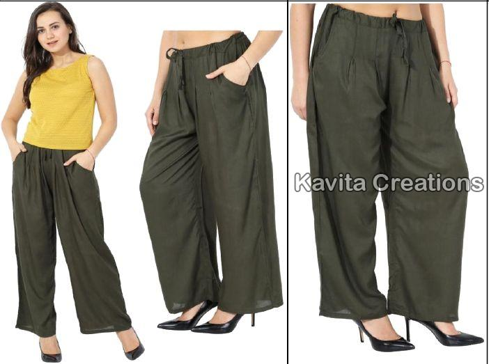 Rayon Olive Green Palazzo Pants Manufacturer Exporter Supplier In