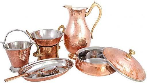 Brown Copper Steel Dinner Set
