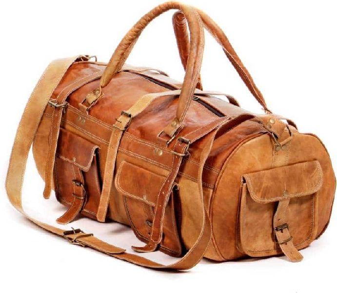 Handmade Leather Duffel Travel Weekender Gym Sports Bag ( 6 Pockets )