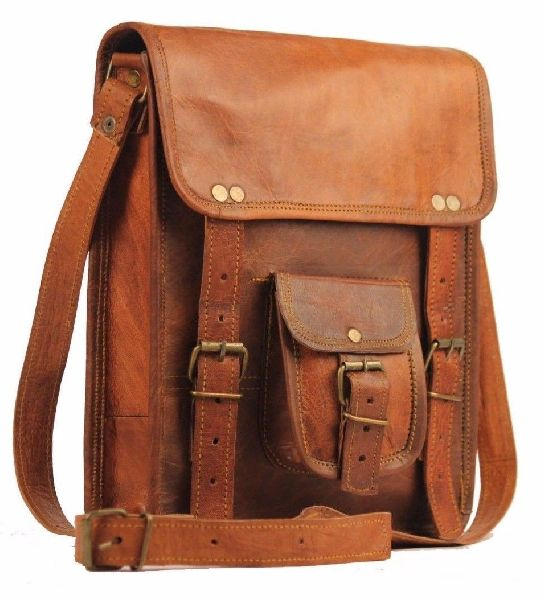 Handmade Leather Messenger Laptop Crossbody Bag