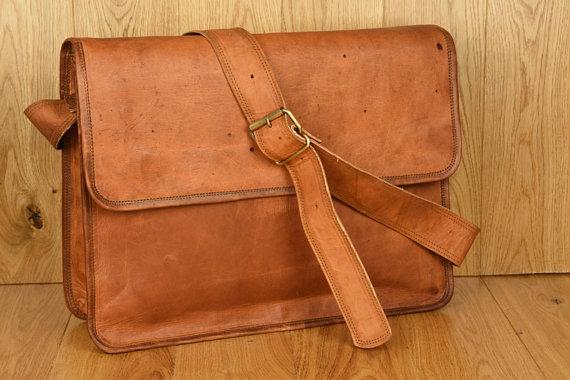 Handmade Leather Messenger Laptop Shoulder School Bag