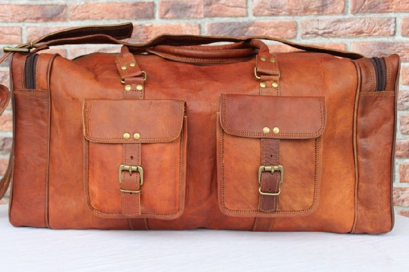 Handmade Leather Rectanglular Duffel Travel Weekender Gym SportsBag