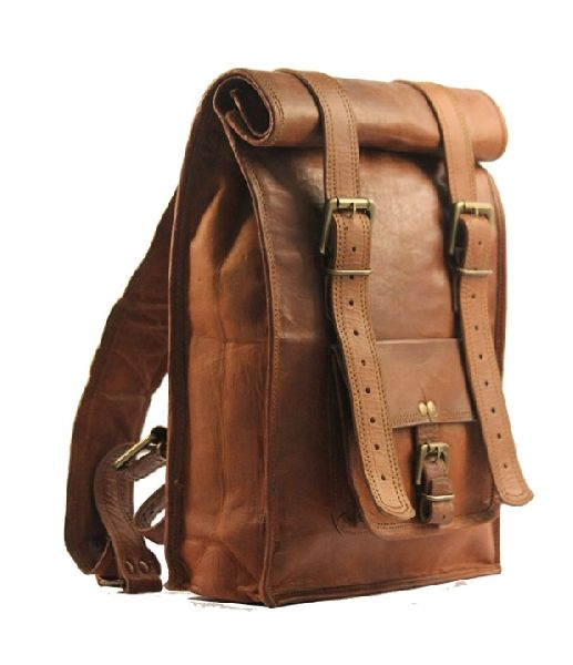 Handmade Leather Roll Backpack Foldable Bag