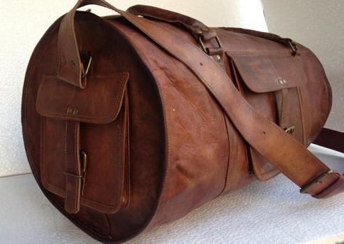 Handmade Leather Round Duffel Travel Weekender Bag