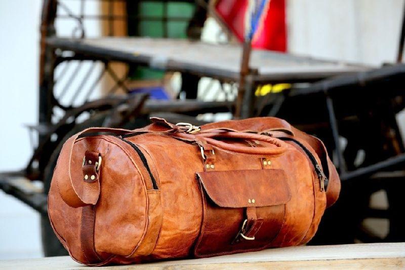 Handmade Leather Round Duffel Travel Weekender Gym Bag