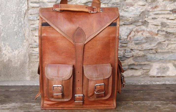 Handmade Leather Rucksack Backpack 2 IN 1 Bag