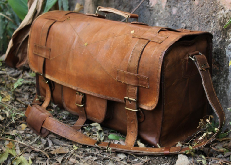 Handmade Leather Solid Duffel Travel Overlap Style Bag