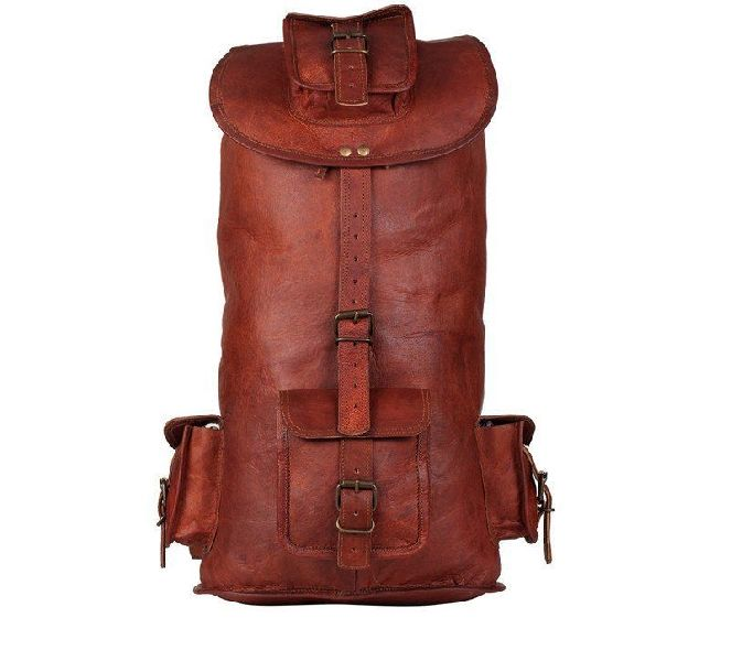 Handmade Leather Unisex Backpack Large Travel Bag